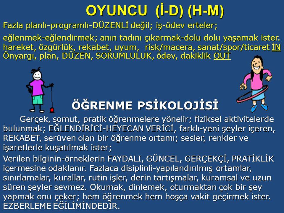 OYUNCU (İ-D) (H-M) ÖĞRENME PSİKOLOJİSİ