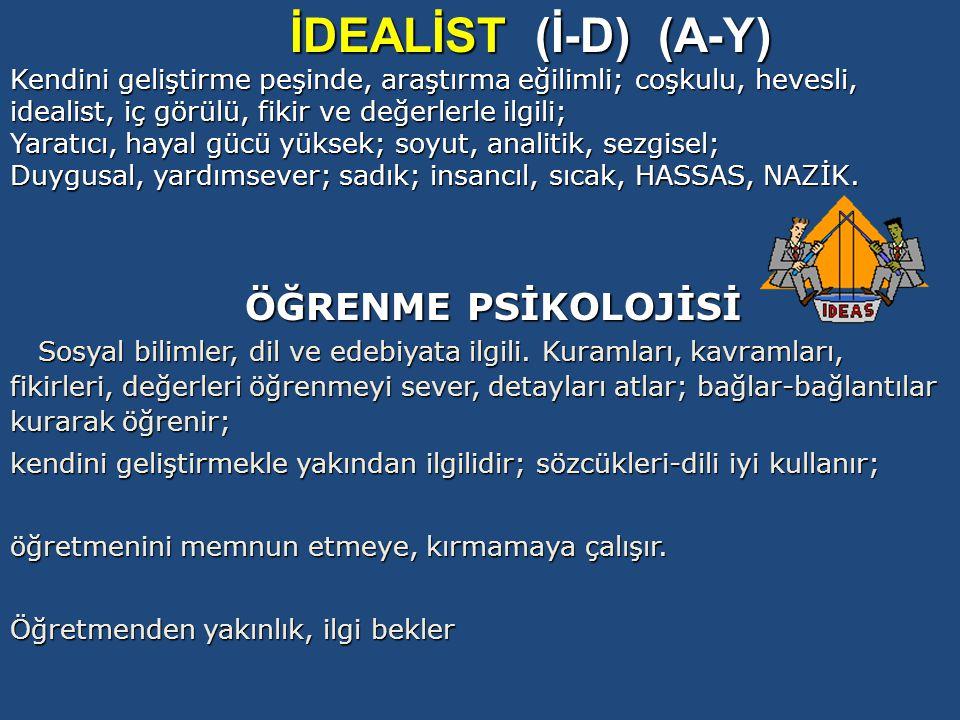 İDEALİST (İ-D) (A-Y) ÖĞRENME PSİKOLOJİSİ