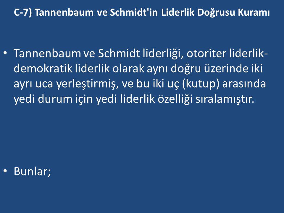C-7) Tannenbaum ve Schmidt in Liderlik Doğrusu Kuramı