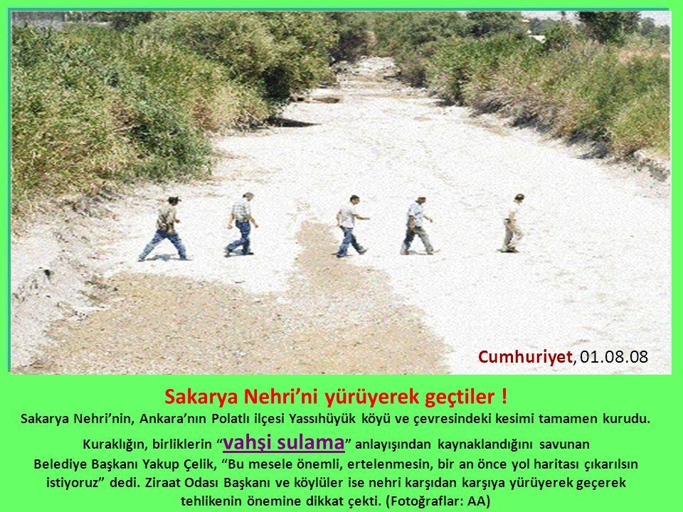 Sakarya Nehri'ni yürüyerek geçtiler !