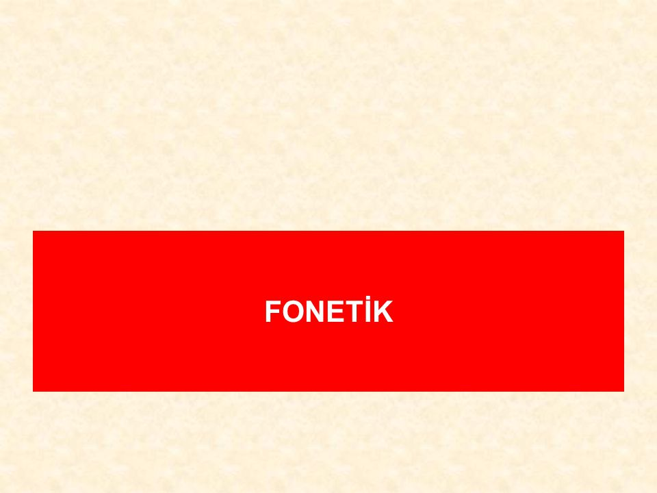 FONETİK