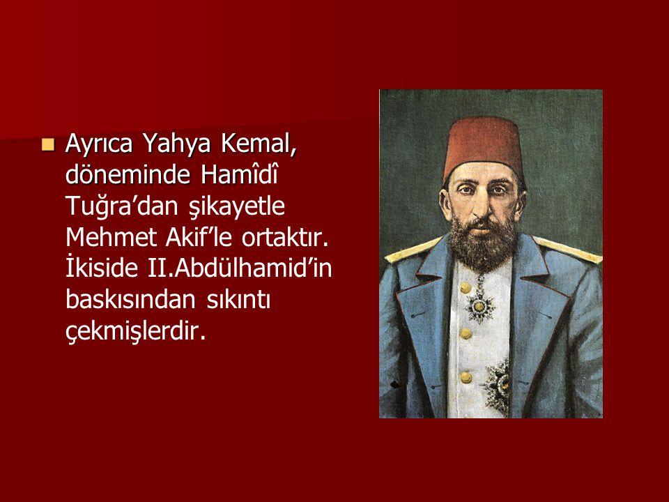 Ayrıca Yahya Kemal, döneminde Hamîdî Tuğra'dan şikayetle Mehmet Akif'le ortaktır.