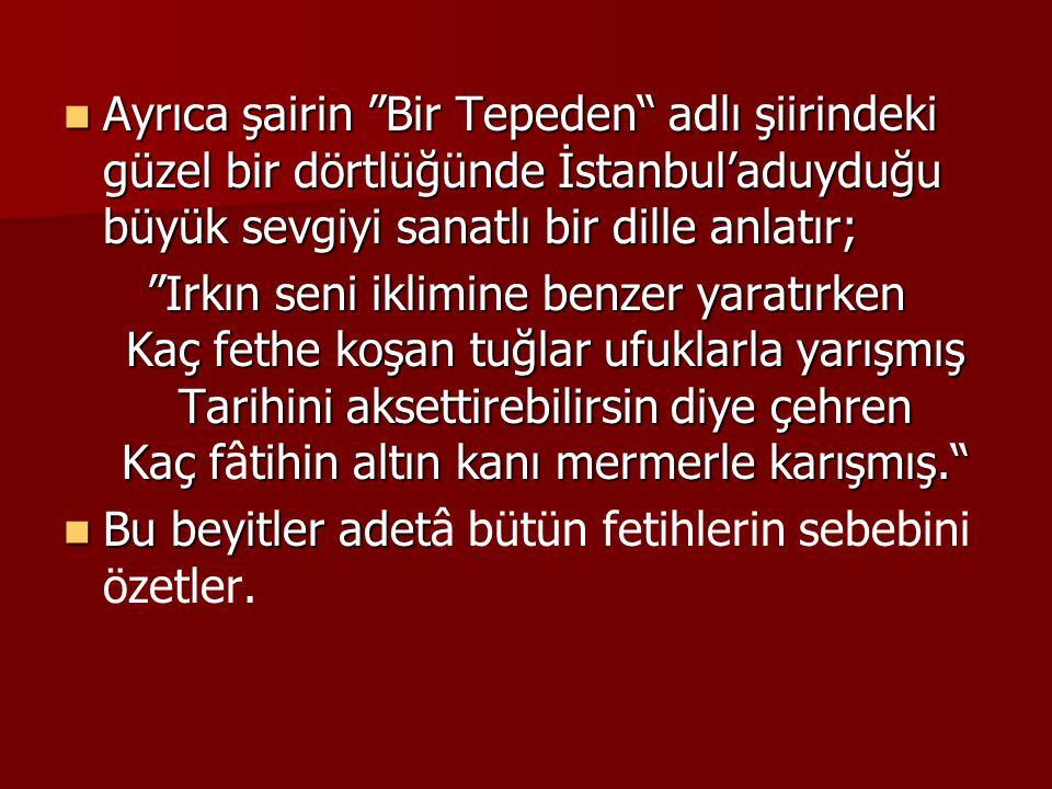 Ayrıca şairin Bir Tepeden adlı şiirindeki güzel bir dörtlüğünde İstanbul'aduyduğu büyük sevgiyi sanatlı bir dille anlatır;