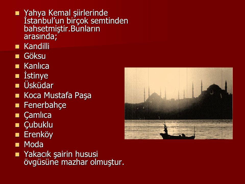 Yahya Kemal şiirlerinde İstanbul'un birçok semtinden bahsetmiştir