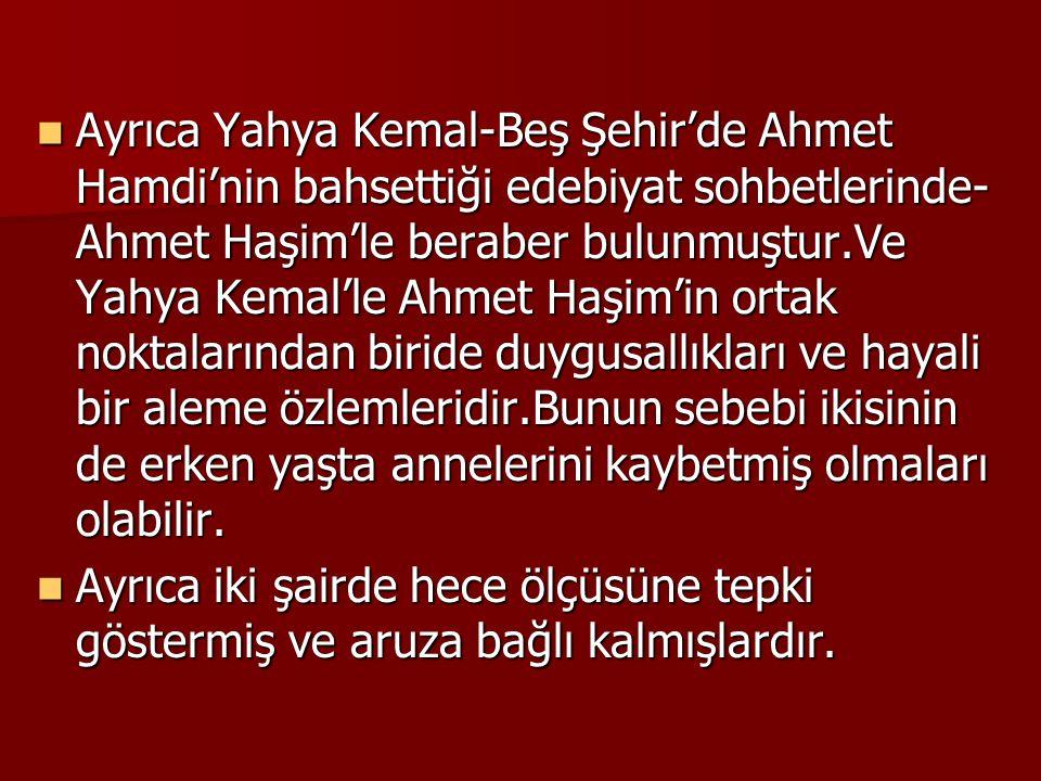 Ayrıca Yahya Kemal-Beş Şehir'de Ahmet Hamdi'nin bahsettiği edebiyat sohbetlerinde-Ahmet Haşim'le beraber bulunmuştur.Ve Yahya Kemal'le Ahmet Haşim'in ortak noktalarından biride duygusallıkları ve hayali bir aleme özlemleridir.Bunun sebebi ikisinin de erken yaşta annelerini kaybetmiş olmaları olabilir.
