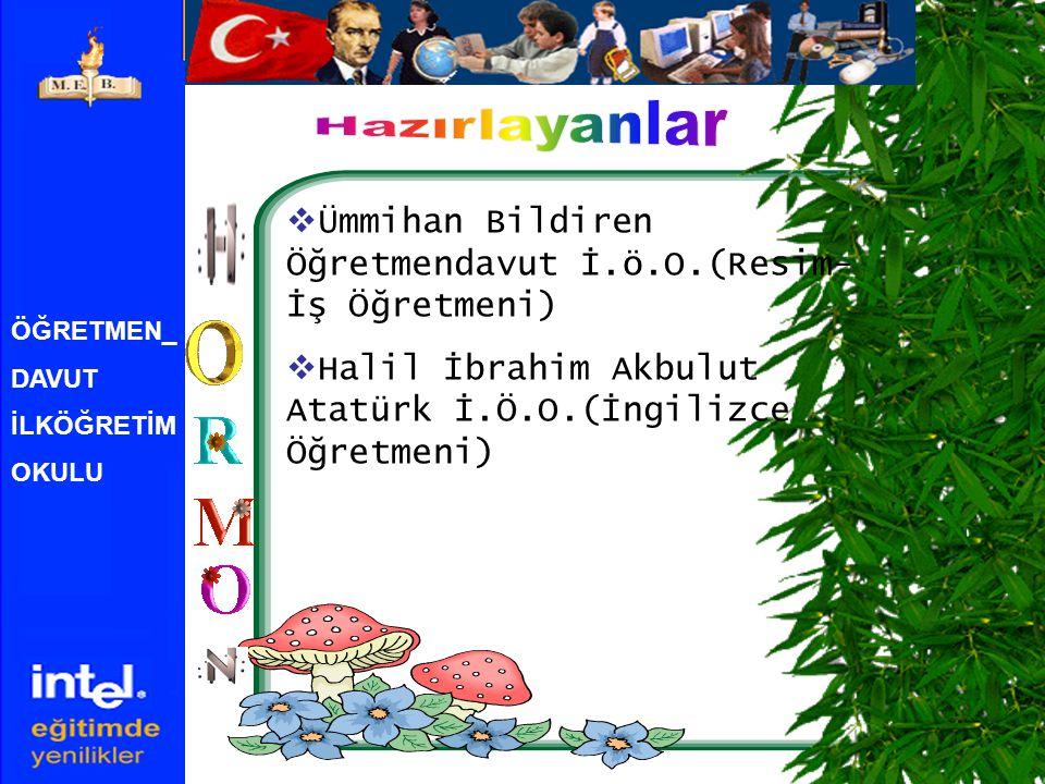 Hazırlayanlar Ümmihan Bildiren Öğretmendavut İ.ö.O.(Resim-İş Öğretmeni) Halil İbrahim Akbulut Atatürk İ.Ö.O.(İngilizce Öğretmeni)