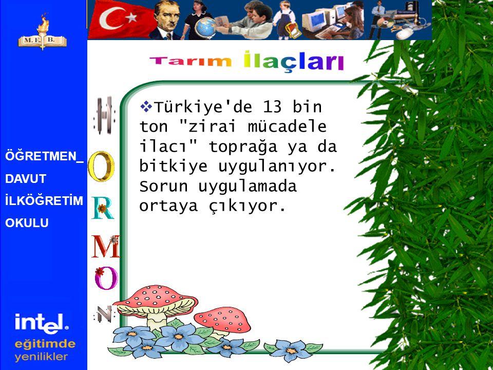 Tarım İlaçları Türkiye de 13 bin ton zirai mücadele ilacı toprağa ya da bitkiye uygulanıyor. Sorun uygulamada ortaya çıkıyor.