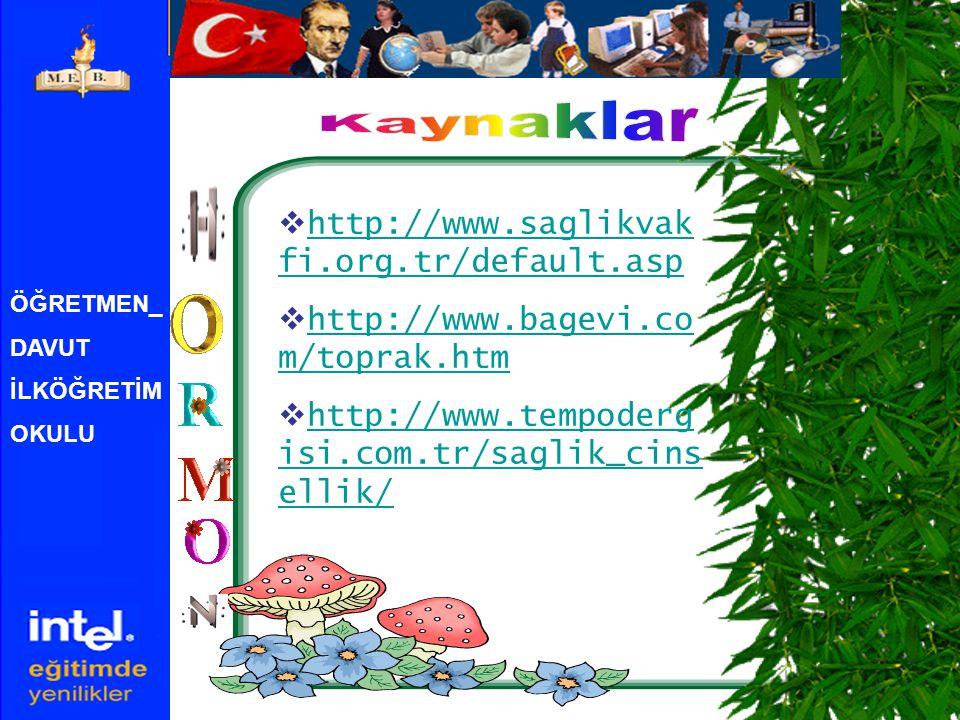 Kaynaklar http://www.saglikvakfi.org.tr/default.asp