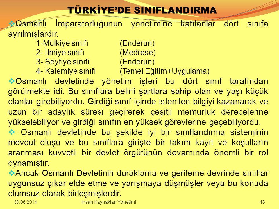 TÜRKİYE'DE SINIFLANDIRMA