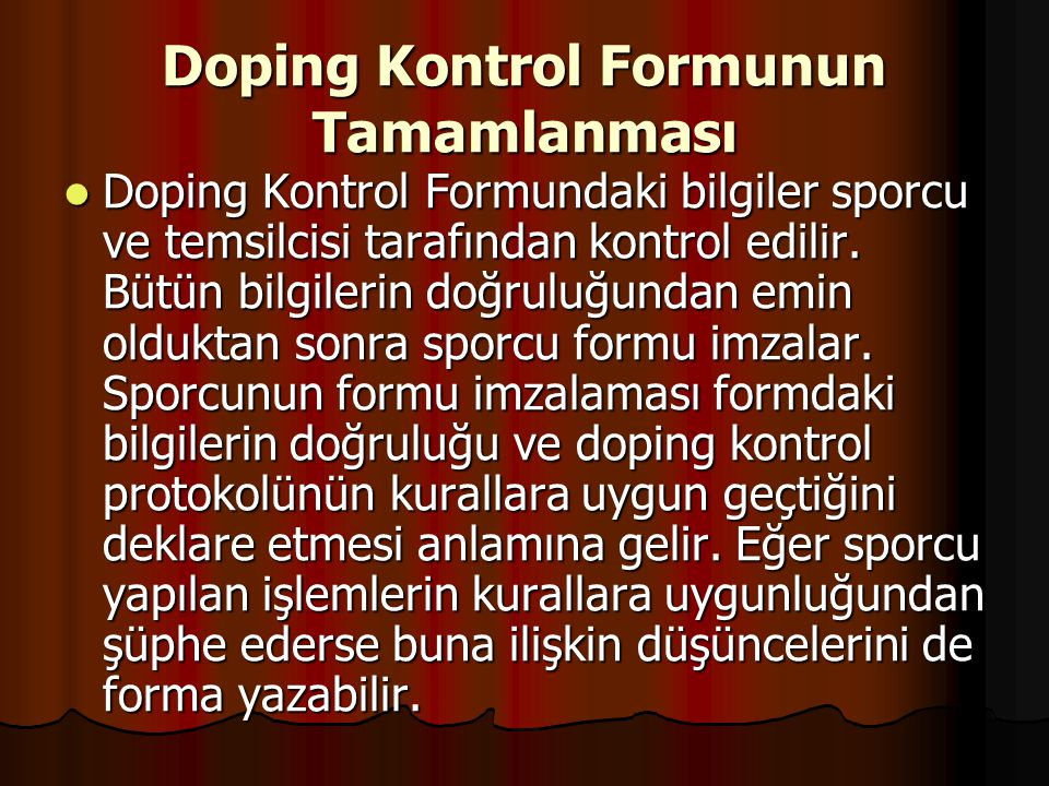 Doping Kontrol Formunun Tamamlanması