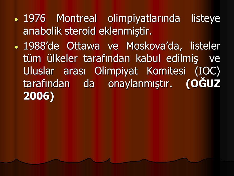 1976 Montreal olimpiyatlarında listeye anabolik steroid eklenmiştir.