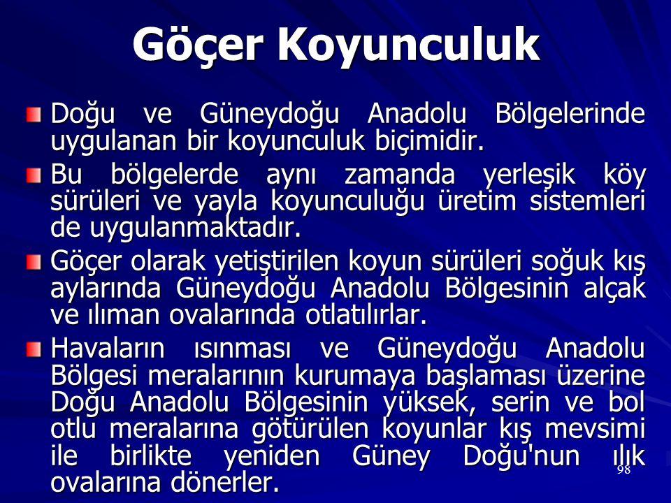 Göçer Koyunculuk Doğu ve Güneydoğu Anadolu Bölgelerinde uygulanan bir koyunculuk biçimidir.