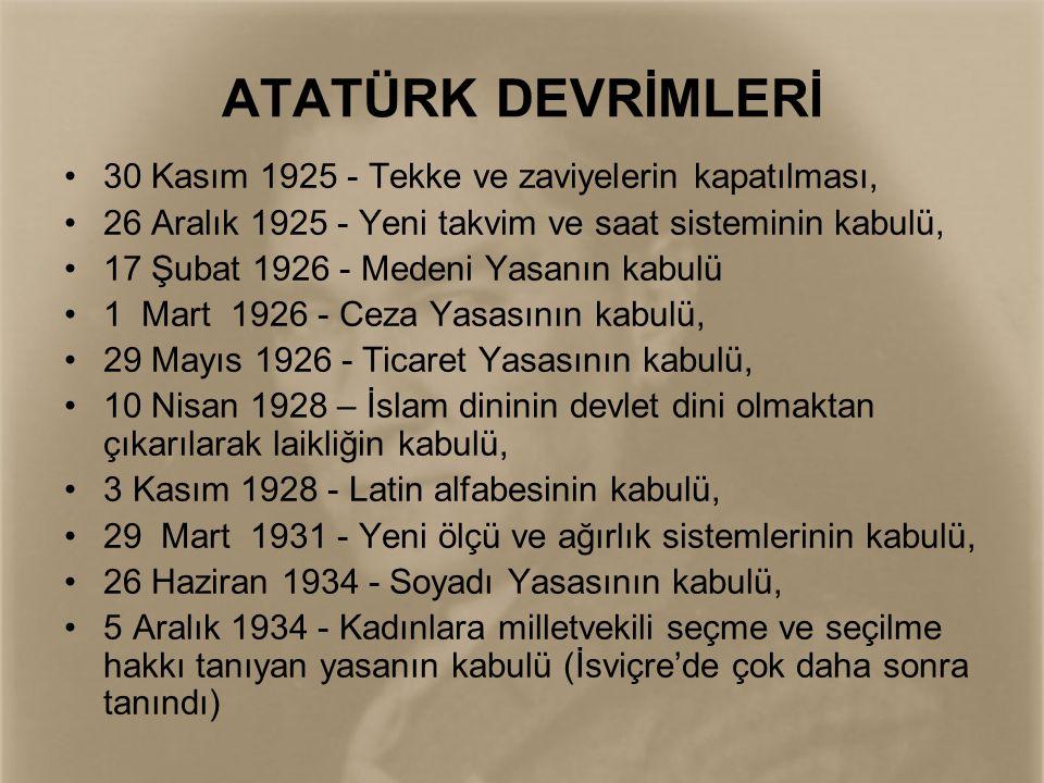 ATATÜRK DEVRİMLERİ 30 Kasım 1925 - Tekke ve zaviyelerin kapatılması,