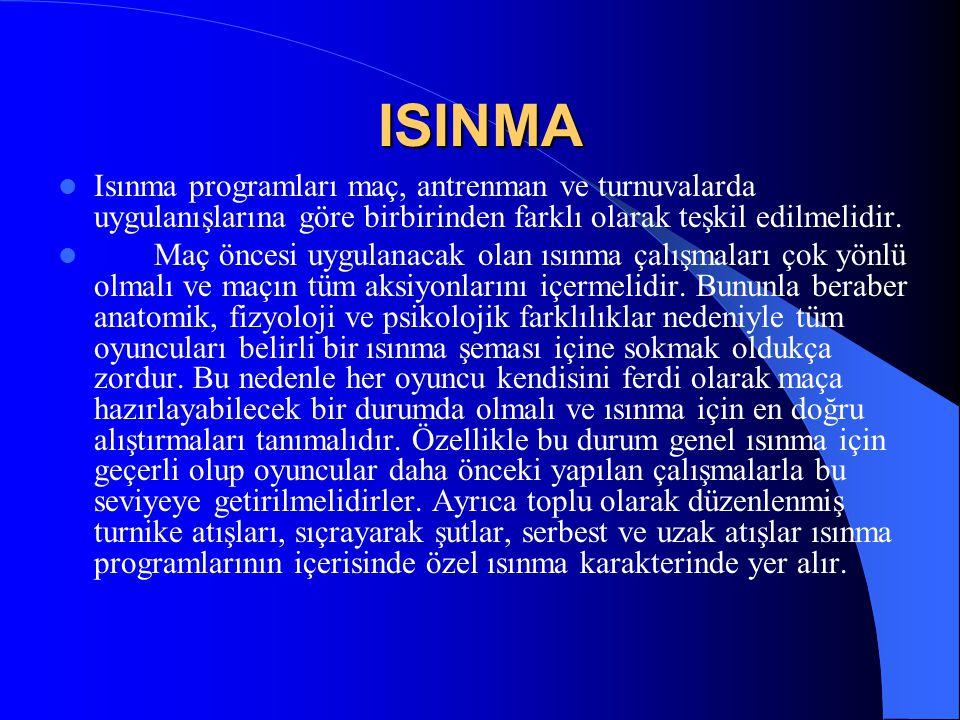 ISINMA Isınma programları maç, antrenman ve turnuvalarda uygulanışlarına göre birbirinden farklı olarak teşkil edilmelidir.