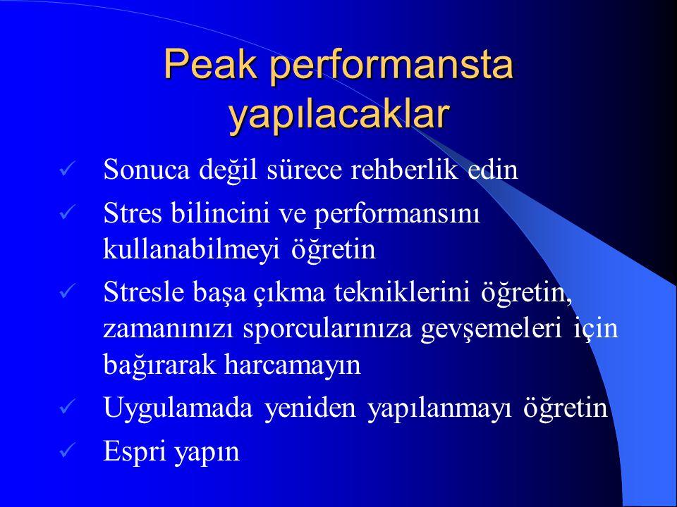 Peak performansta yapılacaklar