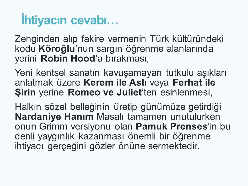 İhtiyacın cevabı… Zenginden alıp fakire vermenin Türk kültüründeki kodu Köroğlu'nun sargın öğrenme alanlarında yerini Robin Hood'a bırakması,