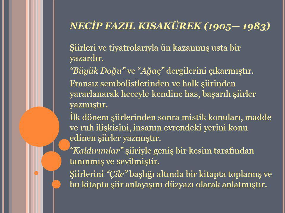 NECİP FAZIL KISAKÜREK (1905— 1983)