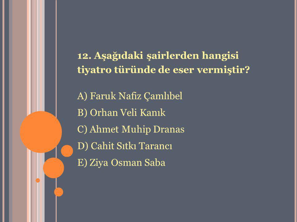 12. Aşağıdaki şairlerden hangisi tiyatro türünde de eser vermiştir