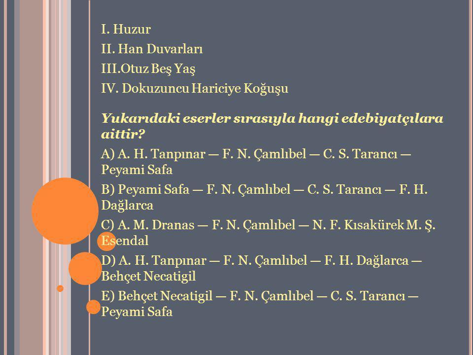 I. Huzur II. Han Duvarları. III.Otuz Beş Yaş. IV. Dokuzuncu Hariciye Koğuşu. Yukarıdaki eserler sırasıyla hangi edebiyatçılara aittir