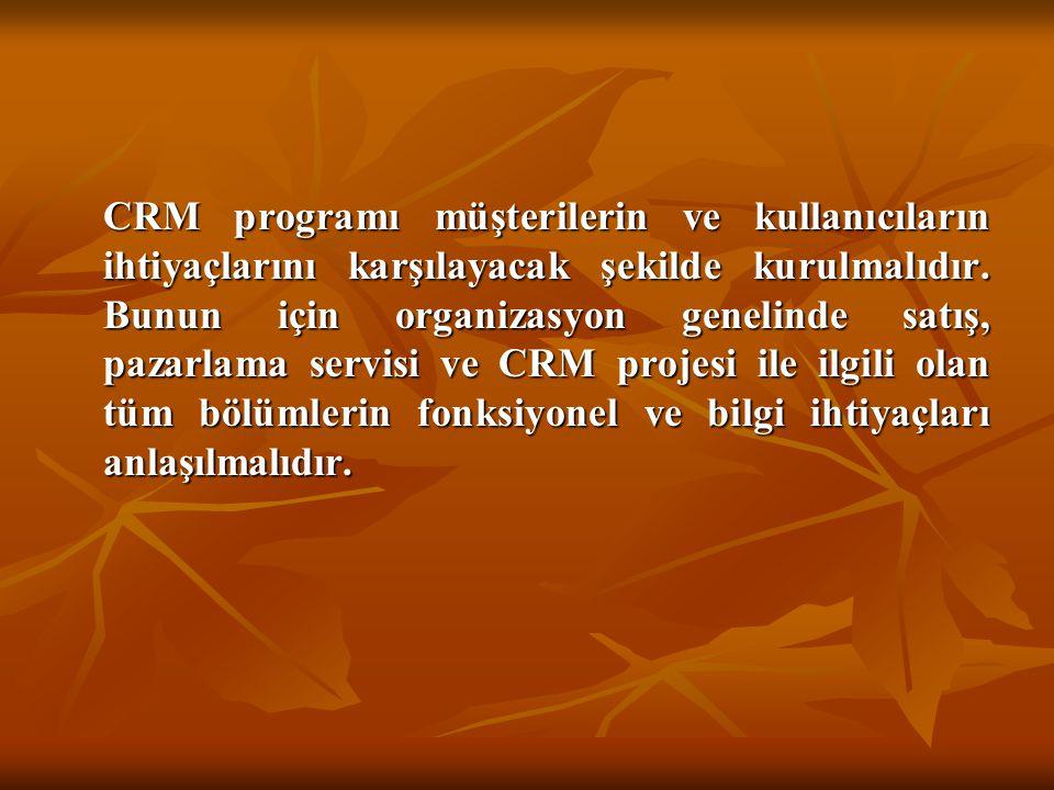 CRM programı müşterilerin ve kullanıcıların ihtiyaçlarını karşılayacak şekilde kurulmalıdır.