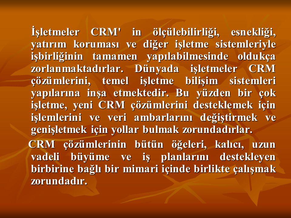 İşletmeler CRM in ölçülebilirliği, esnekliği, yatırım koruması ve diğer işletme sistemleriyle işbirliğinin tamamen yapılabilmesinde oldukça zorlanmaktadırlar. Dünyada işletmeler CRM çözümlerini, temel işletme bilişim sistemleri yapılarına inşa etmektedir. Bu yüzden bir çok işletme, yeni CRM çözümlerini desteklemek için işlemlerini ve veri ambarlarını değiştirmek ve genişletmek için yollar bulmak zorundadırlar.
