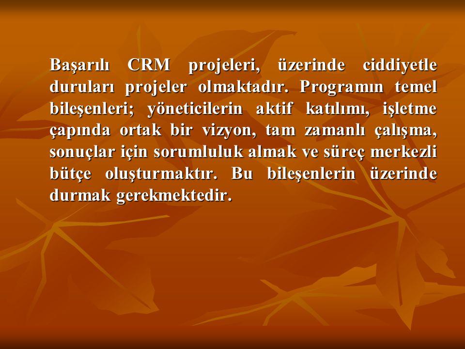 Başarılı CRM projeleri, üzerinde ciddiyetle duruları projeler olmaktadır.