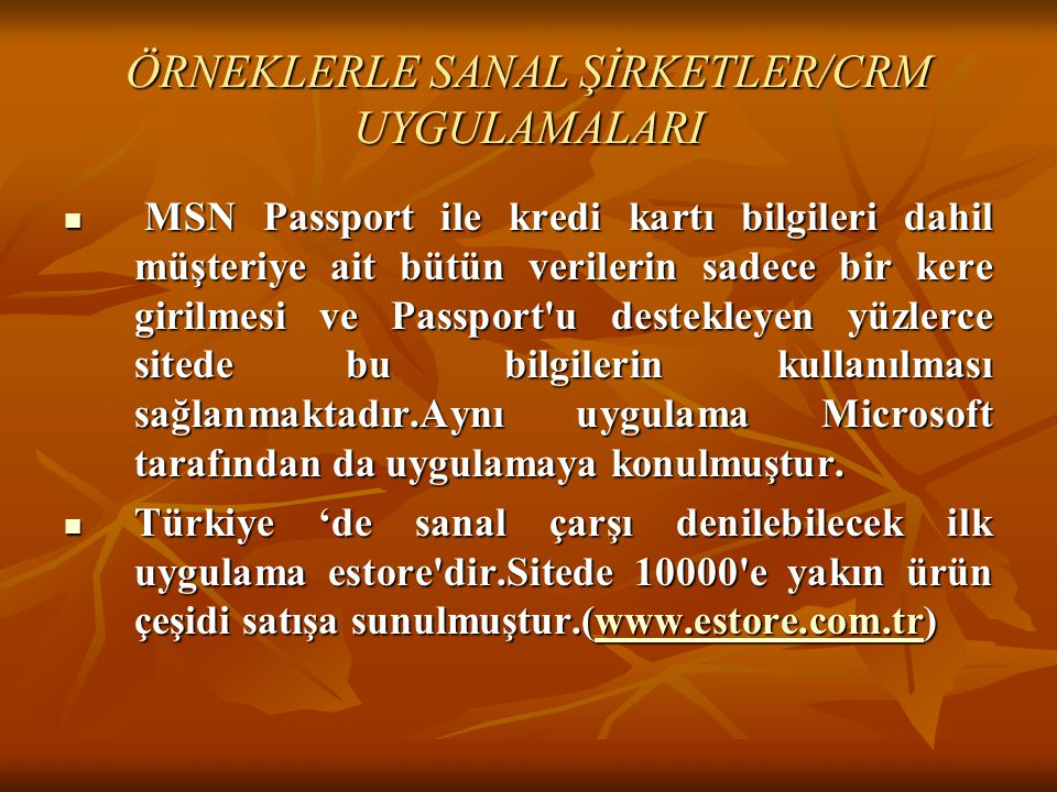 ÖRNEKLERLE SANAL ŞİRKETLER/CRM UYGULAMALARI
