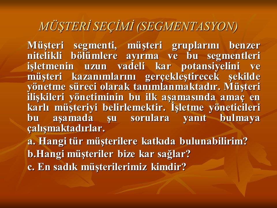 MÜŞTERİ SEÇİMİ (SEGMENTASYON)