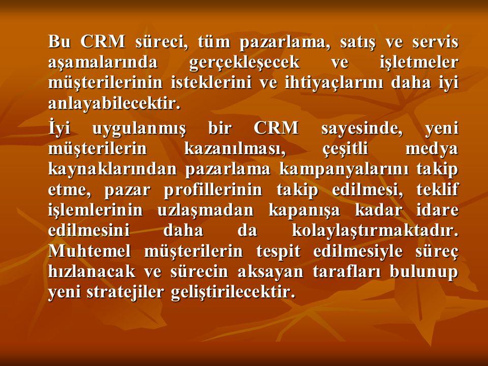 Bu CRM süreci, tüm pazarlama, satış ve servis aşamalarında gerçekleşecek ve işletmeler müşterilerinin isteklerini ve ihtiyaçlarını daha iyi anlayabilecektir.
