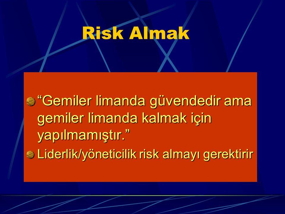 Risk Almak Gemiler limanda güvendedir ama gemiler limanda kalmak için yapılmamıştır. Liderlik/yöneticilik risk almayı gerektirir.