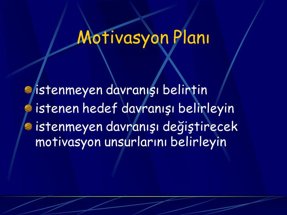 Motivasyon Planı istenmeyen davranışı belirtin