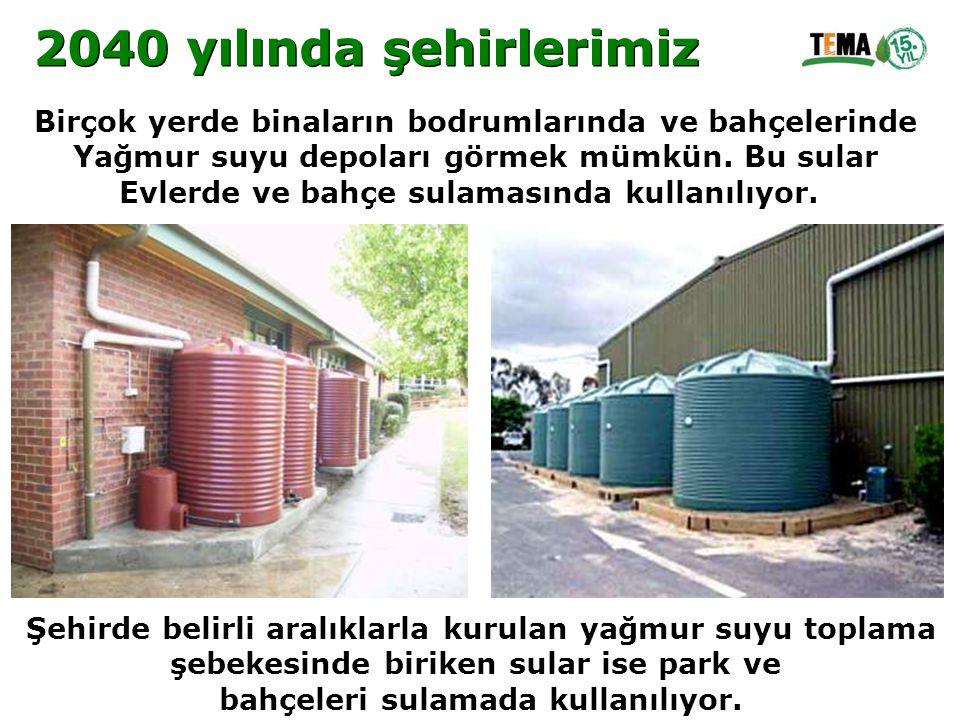 2040 yılında şehirlerimiz Birçok yerde binaların bodrumlarında ve bahçelerinde. Yağmur suyu depoları görmek mümkün. Bu sular.