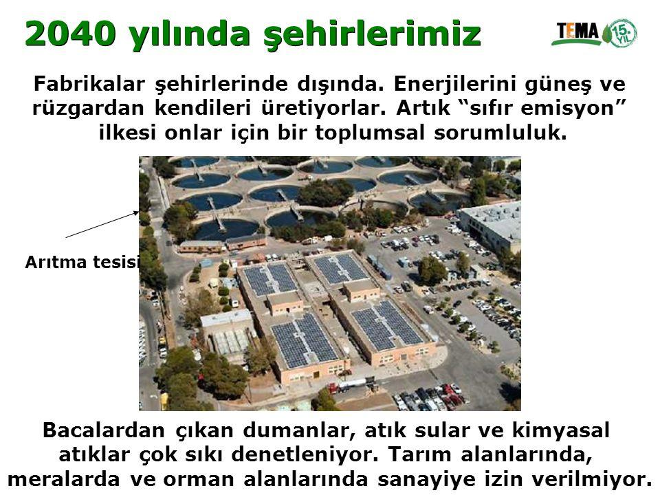 2040 yılında şehirlerimiz Fabrikalar şehirlerinde dışında. Enerjilerini güneş ve. rüzgardan kendileri üretiyorlar. Artık sıfır emisyon