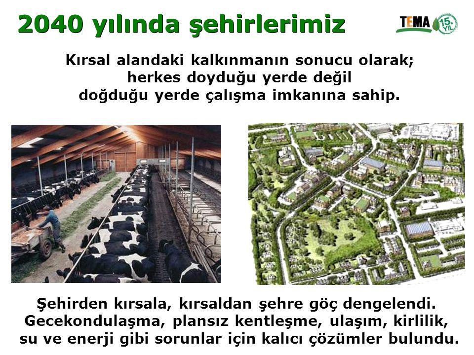 2040 yılında şehirlerimiz Kırsal alandaki kalkınmanın sonucu olarak;