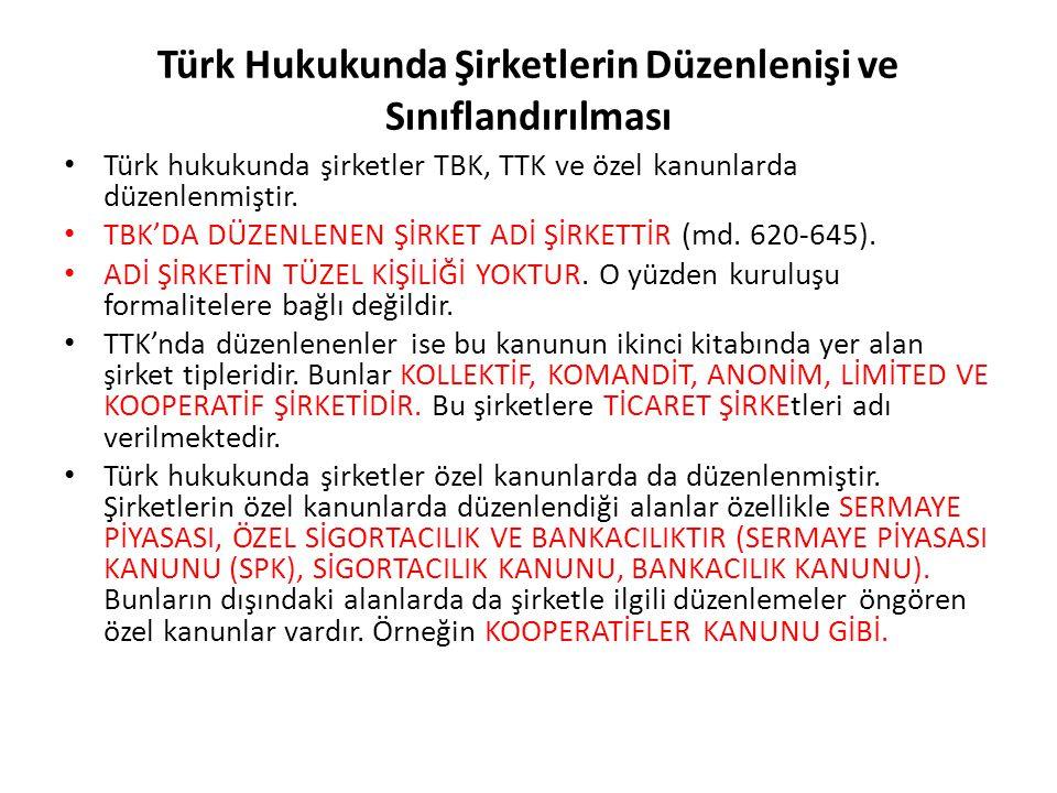 Türk Hukukunda Şirketlerin Düzenlenişi ve Sınıflandırılması