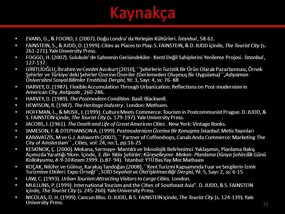 Kaynakça EVANS, G., & FOORD, J. (2007). Doğu Londra da Yerleşim Kültürleri. İstanbul , 58-61.