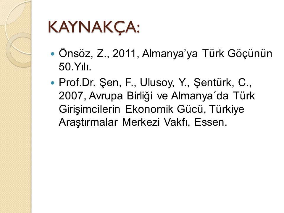 KAYNAKÇA: Önsöz, Z., 2011, Almanya'ya Türk Göçünün 50.Yılı.