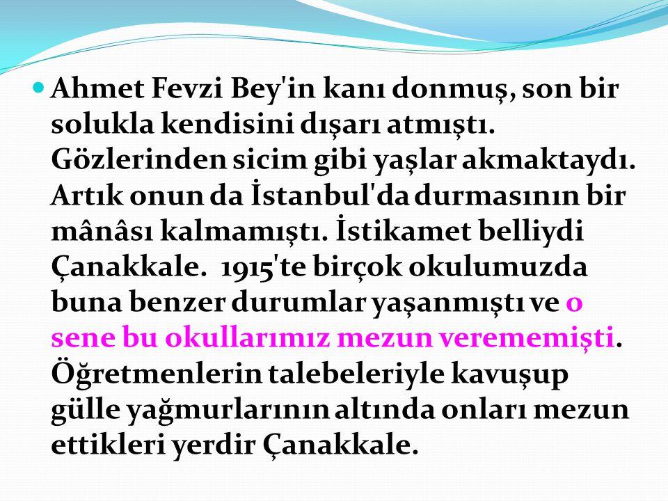 Ahmet Fevzi Bey in kanı donmuş, son bir solukla kendisini dışarı atmıştı.