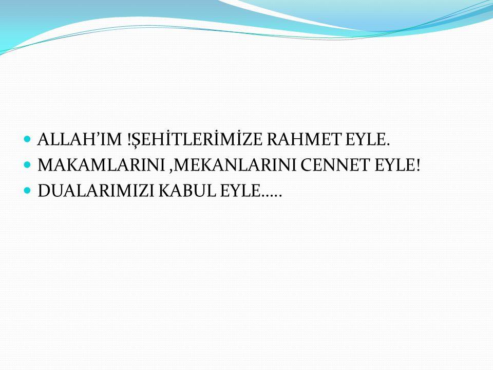 ALLAH'IM !ŞEHİTLERİMİZE RAHMET EYLE.