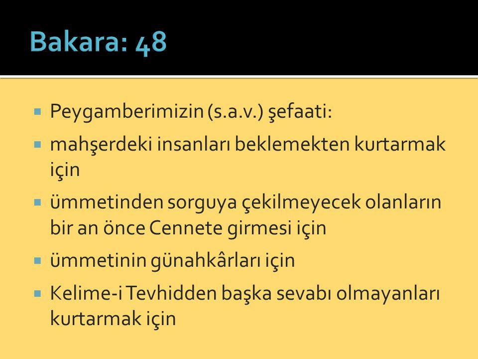Bakara: 48 Peygamberimizin (s.a.v.) şefaati:
