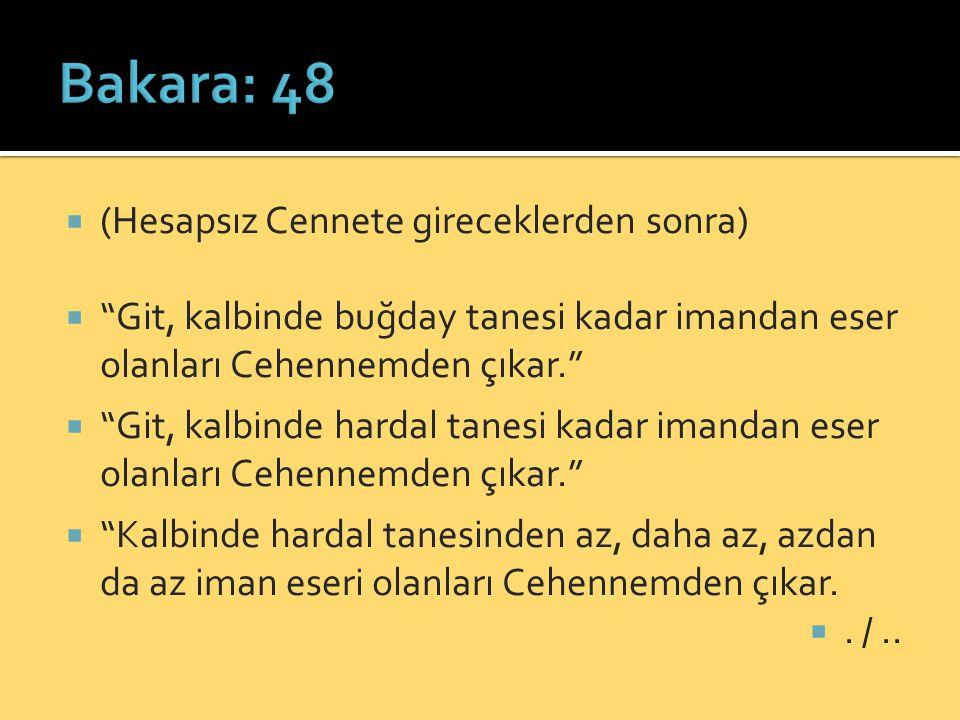 Bakara: 48 (Hesapsız Cennete gireceklerden sonra)