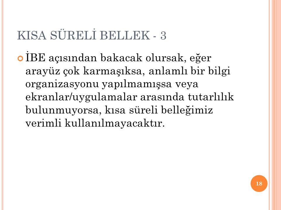 KISA SÜRELİ BELLEK - 3