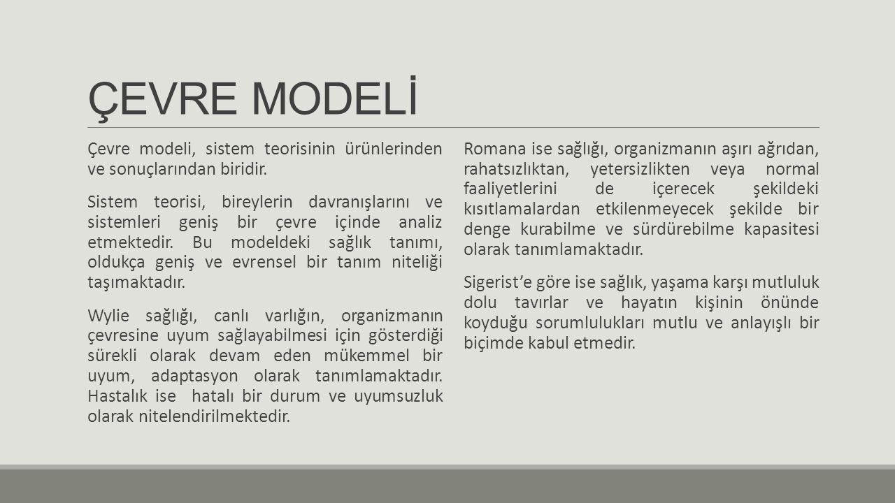 ÇEVRE MODELİ Çevre modeli, sistem teorisinin ürünlerinden ve sonuçlarından biridir.