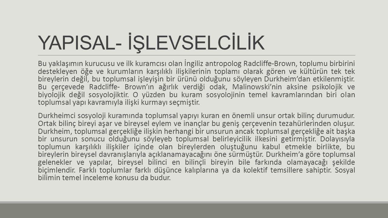 YAPISAL- İŞLEVSELCİLİK