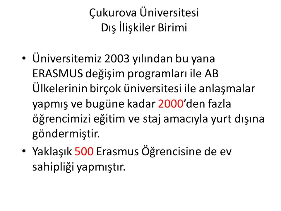 Çukurova Üniversitesi Dış İlişkiler Birimi