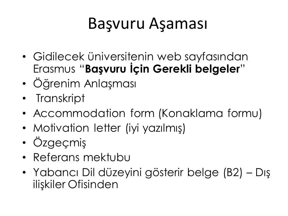 Başvuru Aşaması Gidilecek üniversitenin web sayfasından Erasmus Başvuru İçin Gerekli belgeler Öğrenim Anlaşması.