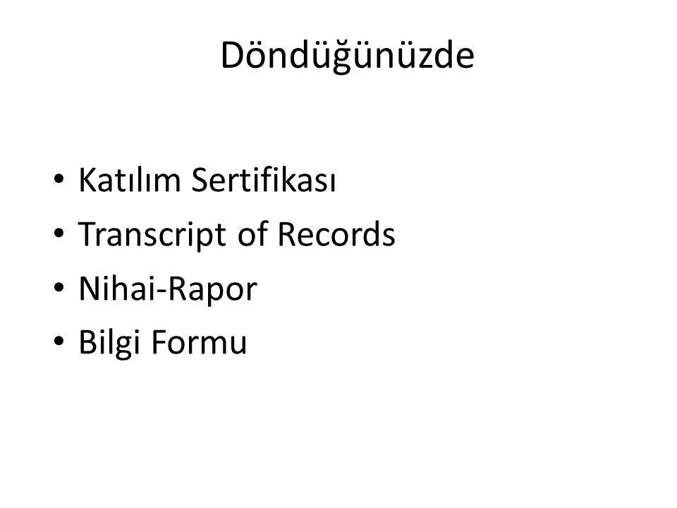 Döndüğünüzde Katılım Sertifikası Transcript of Records Nihai-Rapor