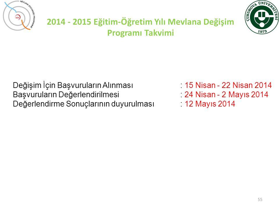 2014 - 2015 Eğitim-Öğretim Yılı Mevlana Değişim Programı Takvimi