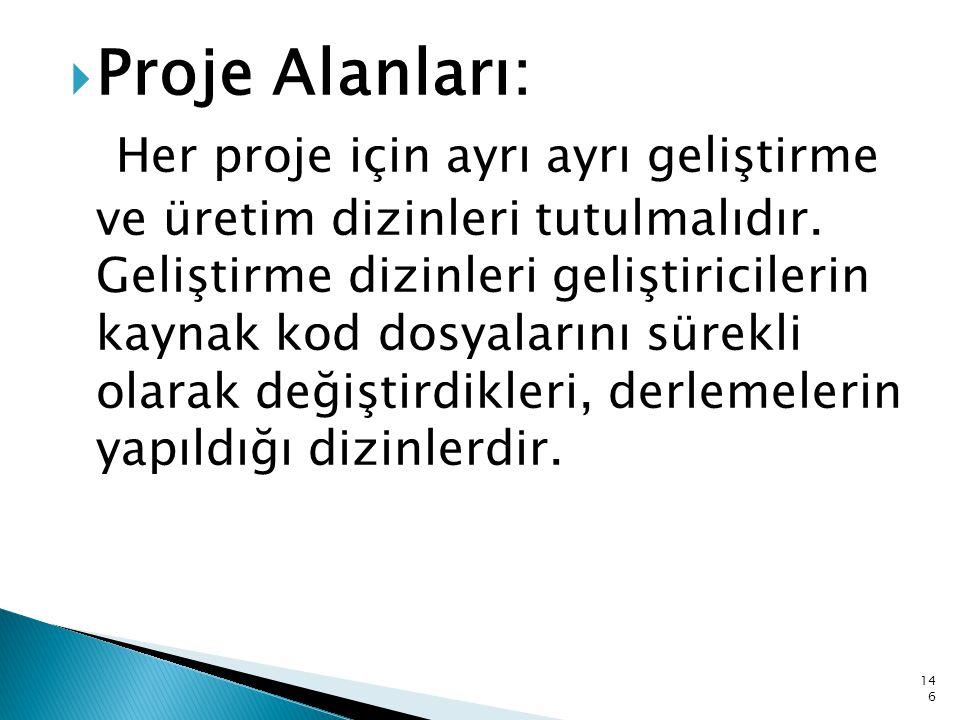 Proje Alanları: Her proje için ayrı ayrı geliştirme ve üretim dizinleri tutulmalıdır.