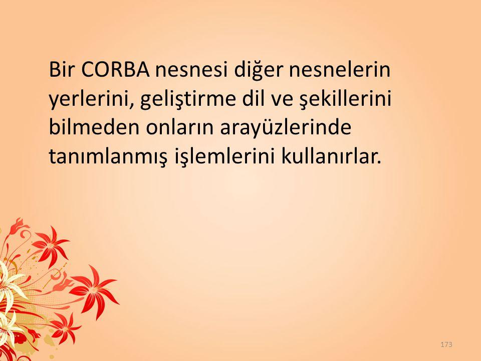 Bir CORBA nesnesi diğer nesnelerin yerlerini, geliştirme dil ve şekillerini bilmeden onların arayüzlerinde tanımlanmış işlemlerini kullanırlar.